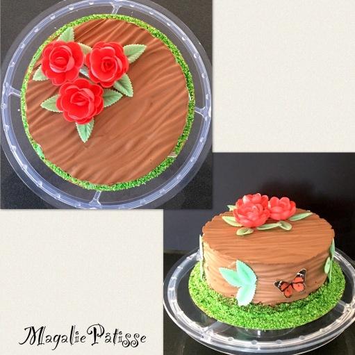 Entremets chocolat noir, mousse framboise, gelée de framboise, fluffy cake chocolat et croustillant chocolat au lait