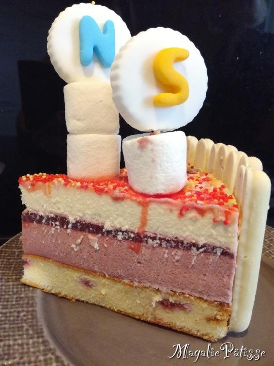 Fluffy cake fouré aux framboises, mousse de framboise, gelée de framboise, mousse chocolat blanc, fingers et guimauve du commerce en déco, prénom en pâte à sucre