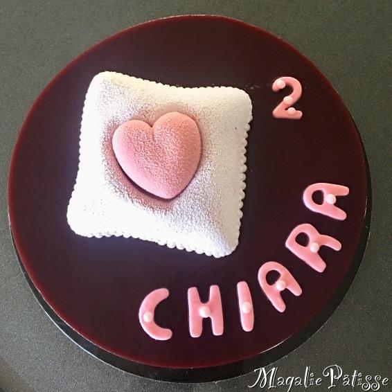 Entremets framboise chocolat blanc et fluffy cake vanille