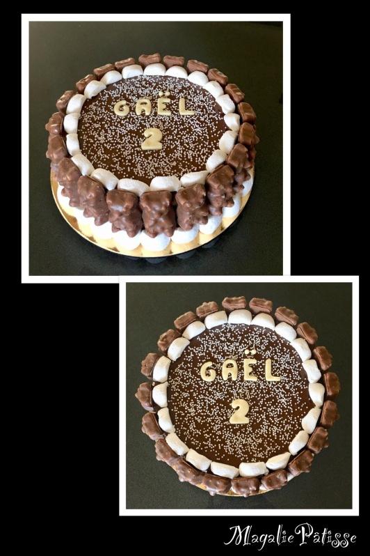 Fluffy cake vanille fouré et recouvert de nutella, déco en guimauves (du commerce)