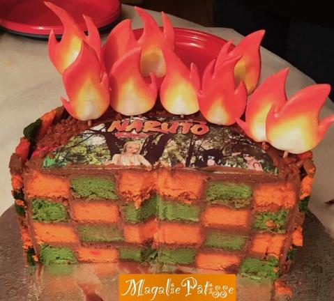gâteau damier: fluffy cake vanille et ganache pralinée